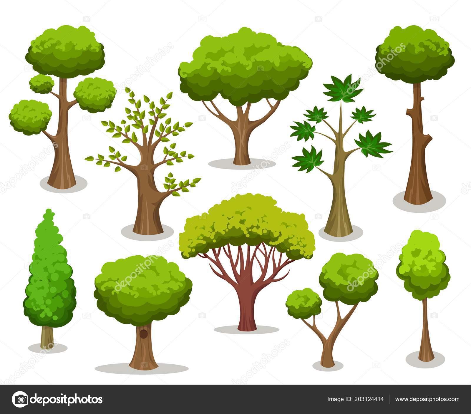 Clipart: cartoon trees.