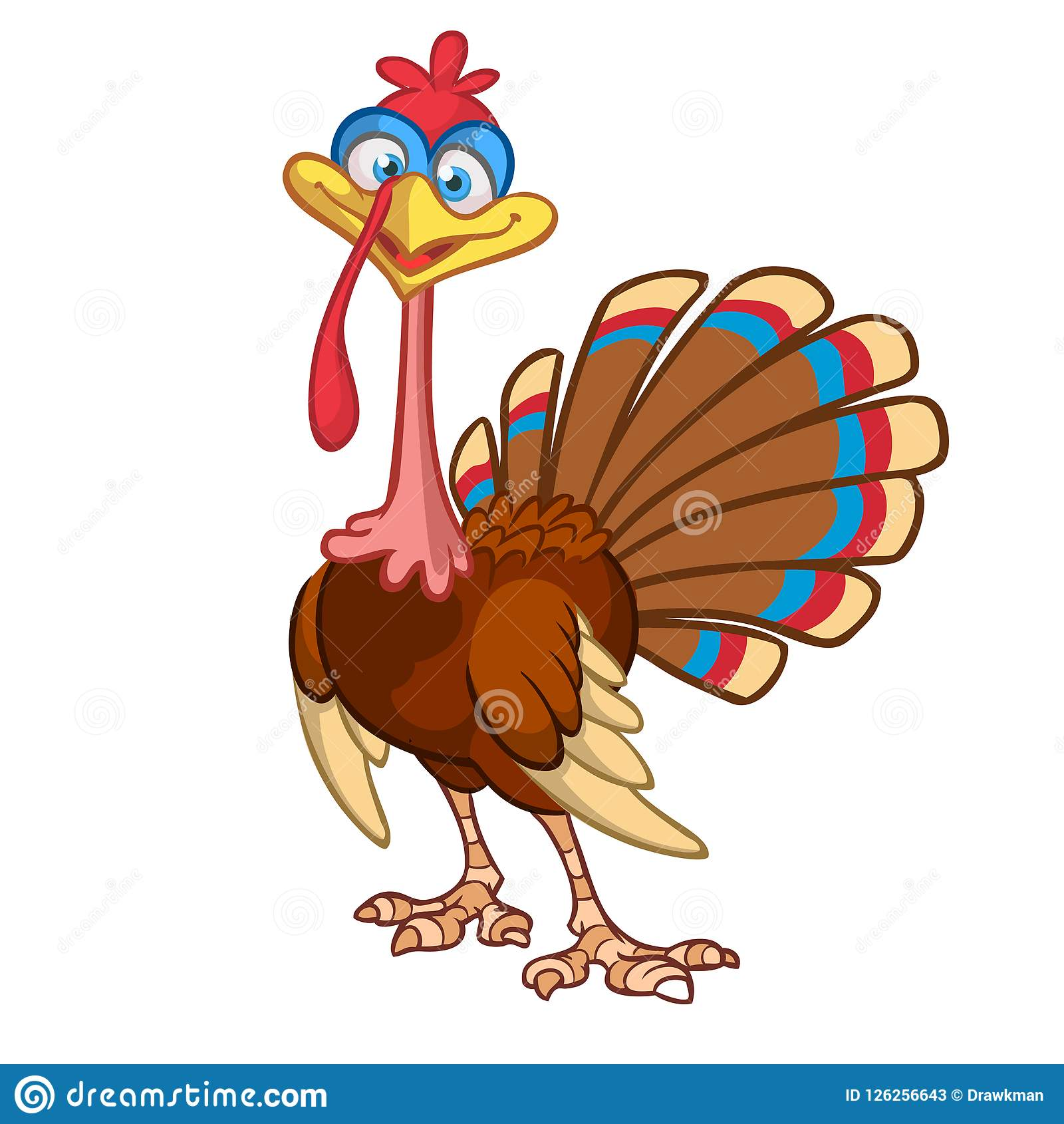 Cartoon Turkey Character. Thanksgiving Clipart. Stock Vector.