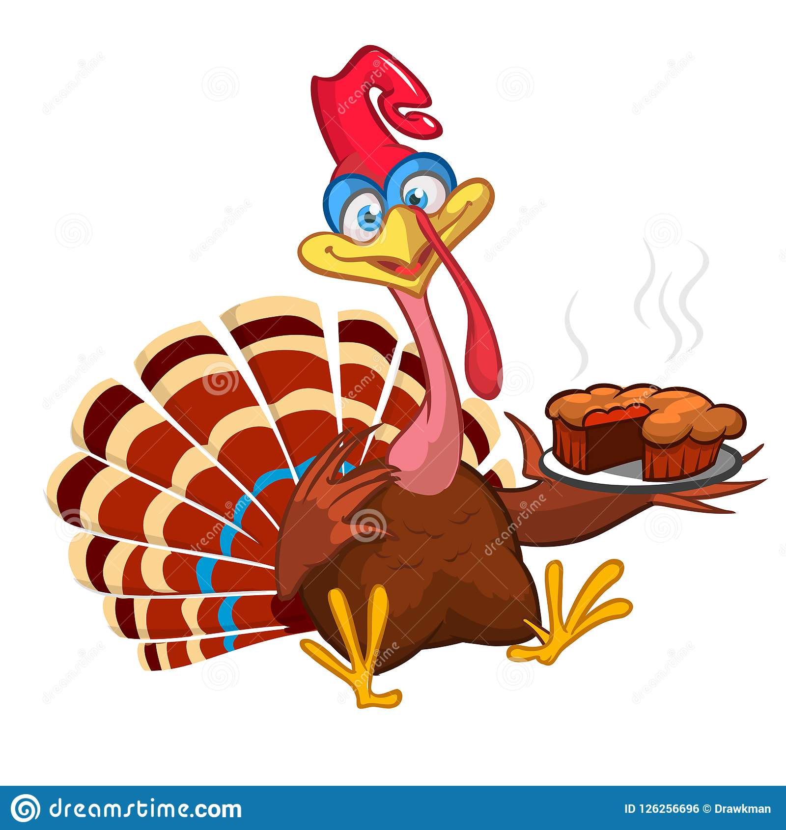 Thanksgiving Cartoon Turkey Bird Greeting Card. Vector Illustration.