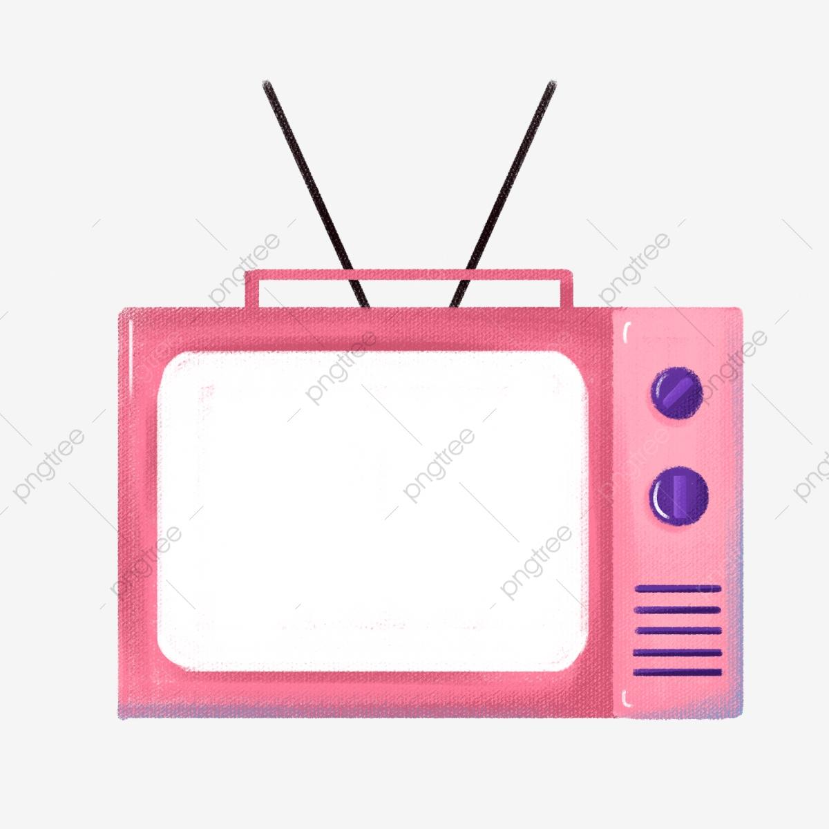 Pink Tv Cartoon Tv Hand Drawn Tv Tv Decoration, Tv Illustration.