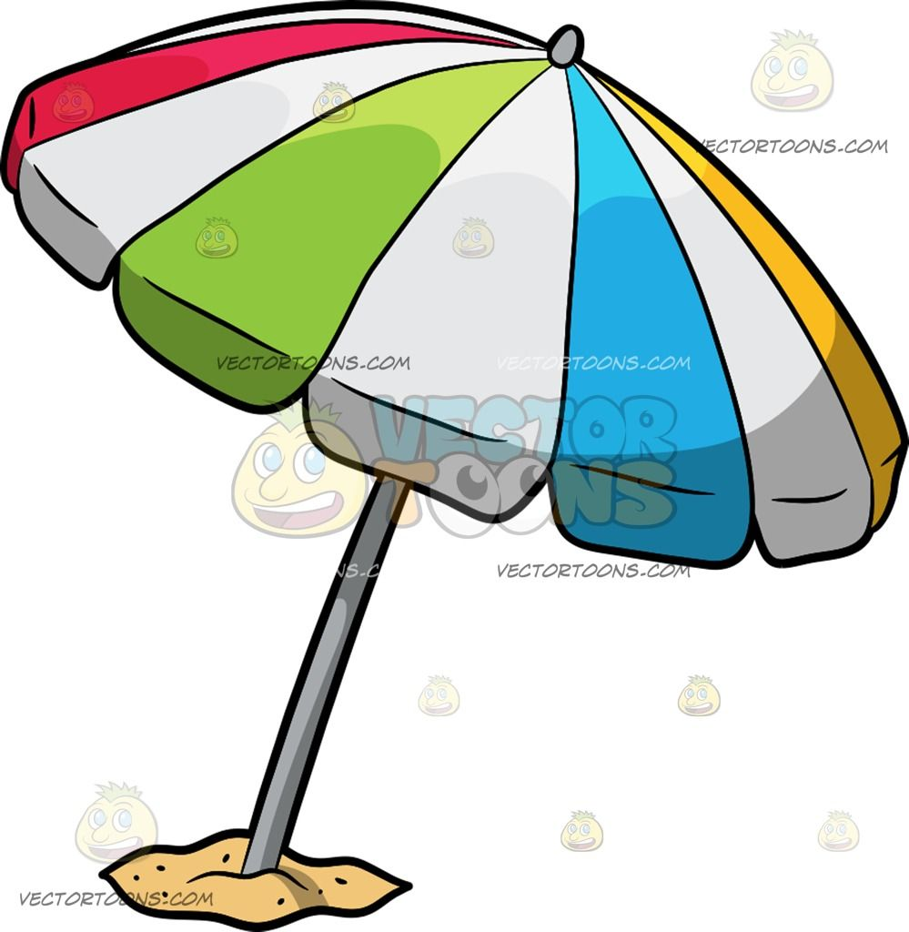 A Beach Umbrella Cartoon Clipart.