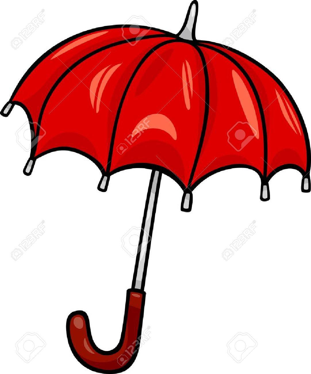 Cartoon Illustration of Red Umbrella Clip Art.