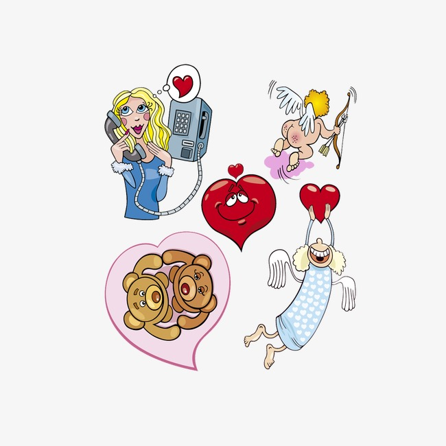 Cartoon Valentine's Day Theme, Cartoon Clipart, Cartoon, Angel PNG.