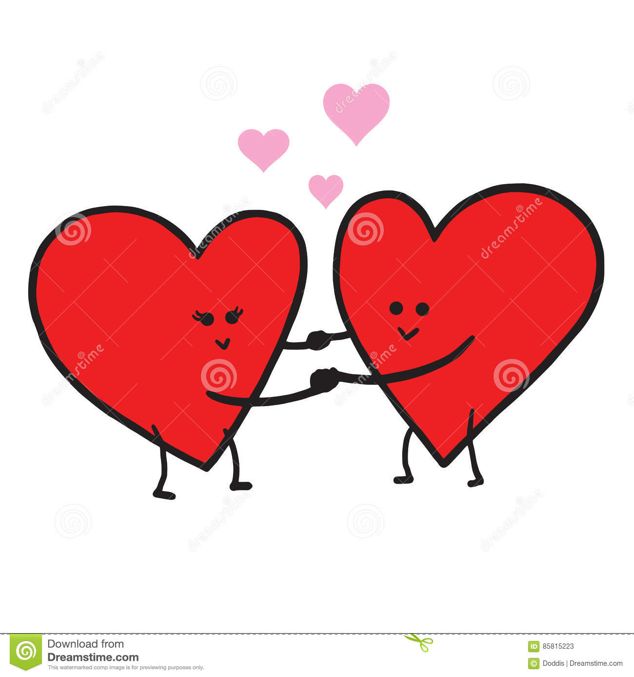 Cute Love Cartoon In Love Vector Illustration. Valentine Greeting.