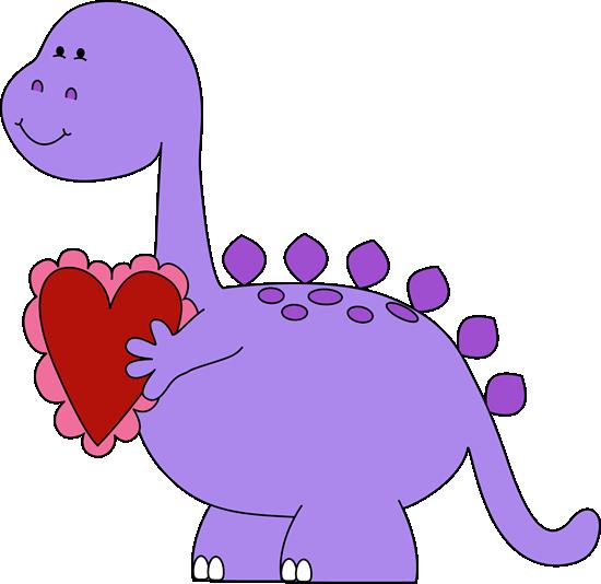 Valentine's Day Dinosaur Clip Art.