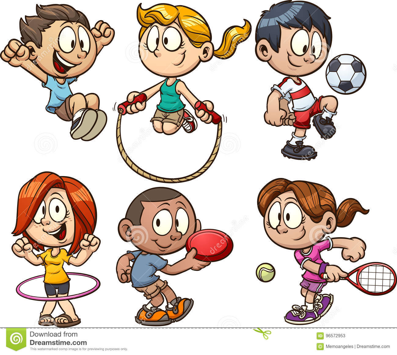 Kids playing stock vector. Illustration of white, character.