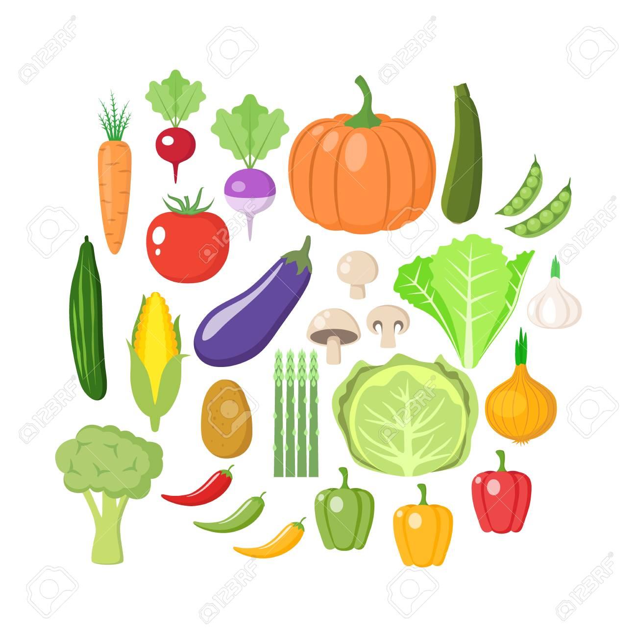 Colorful vegetables clipart set. Vegetable colored cartoon vector...