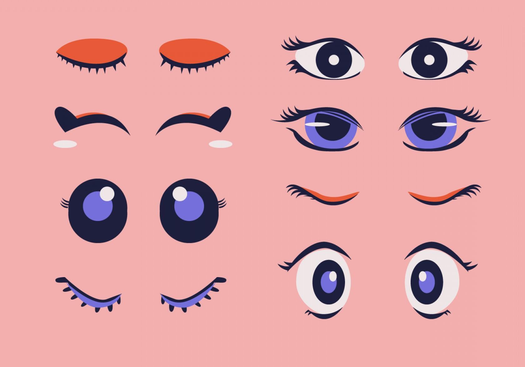 Eyelashes Clipart Set Cartoon Vector Illustration.