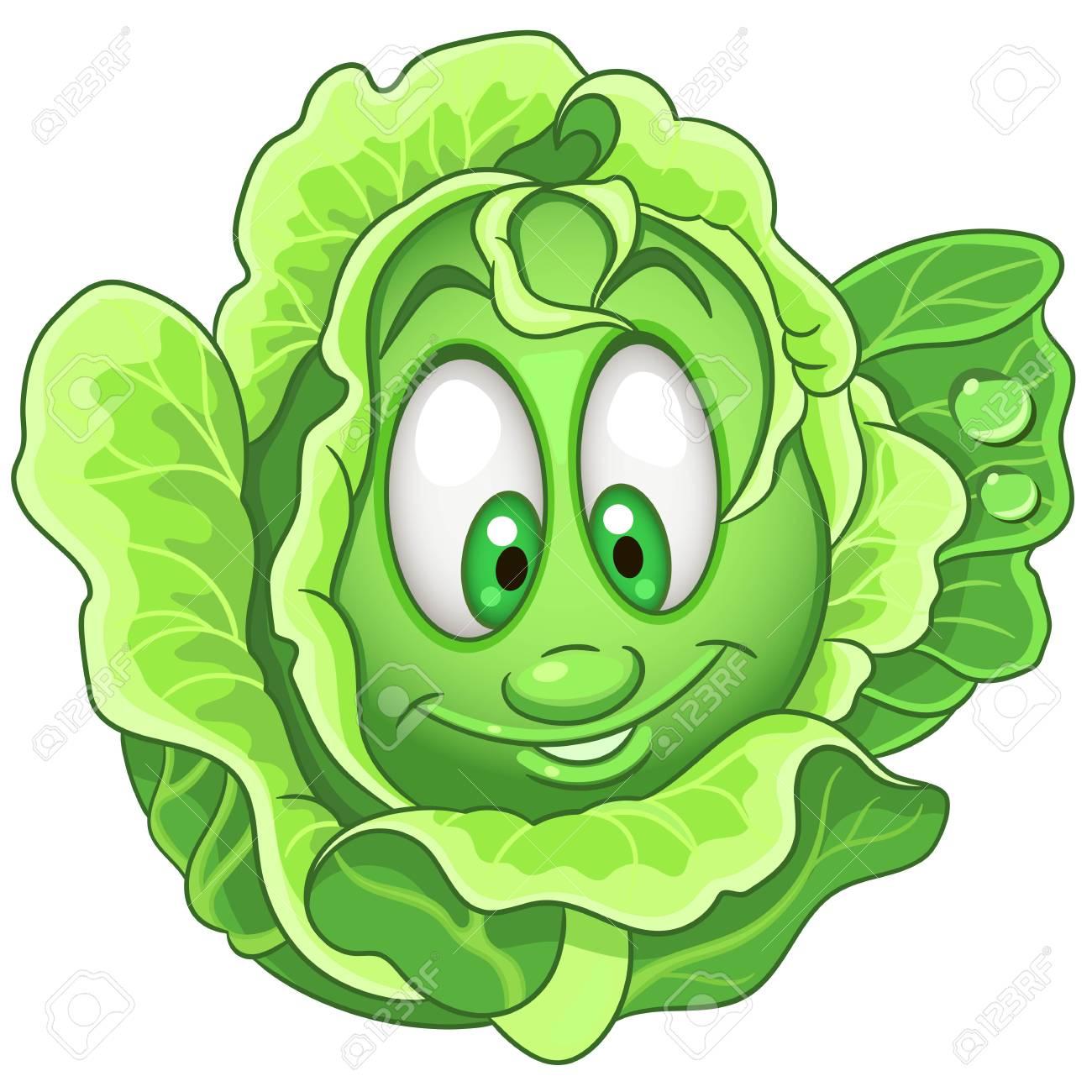 Cartoon Cabbage character. Iceberg Lettuce. Happy Vegetable symbol.