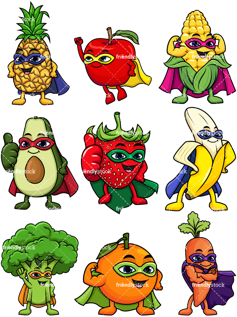 Fruit And Vegetable Superhero Characters Collection.