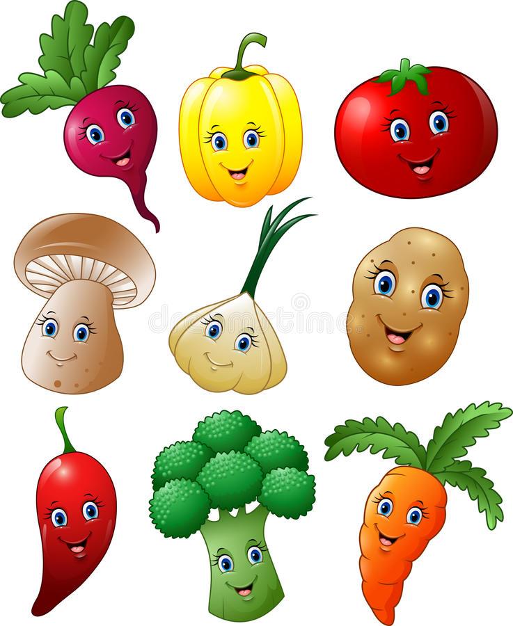 Cartoon Vegetables Stock Illustrations.