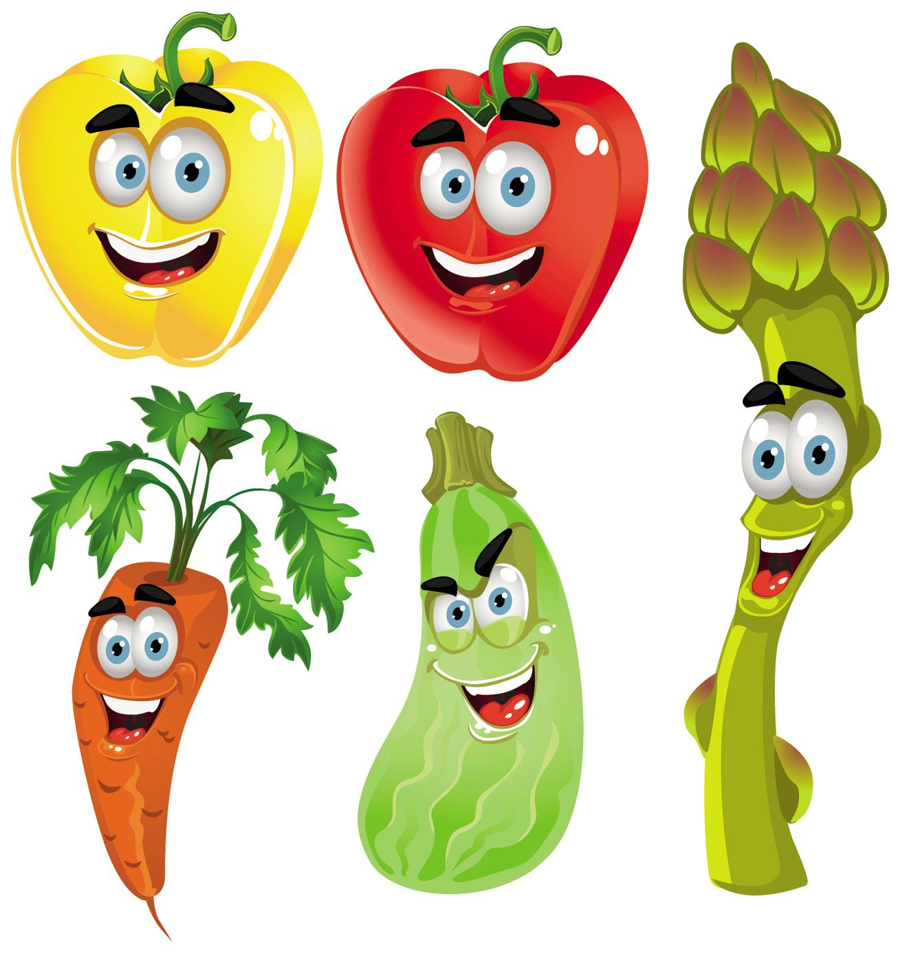 cartoon fruit and vegetable images.