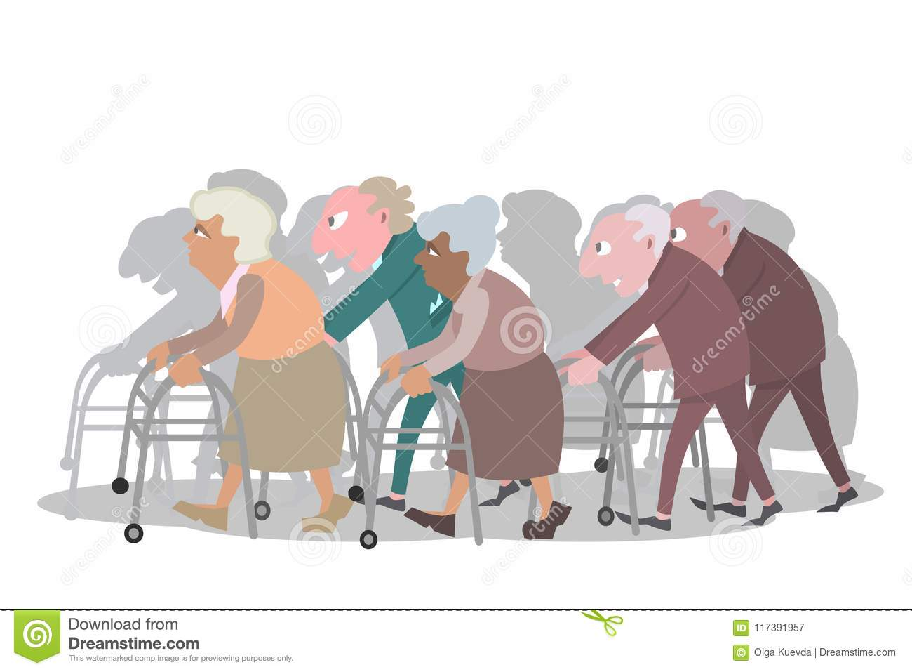 Groupe Of Old People Walking With Walkers Stock Vector.