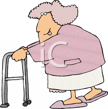 Royalty Free Clip Art Image: Old Lady With a Walker.