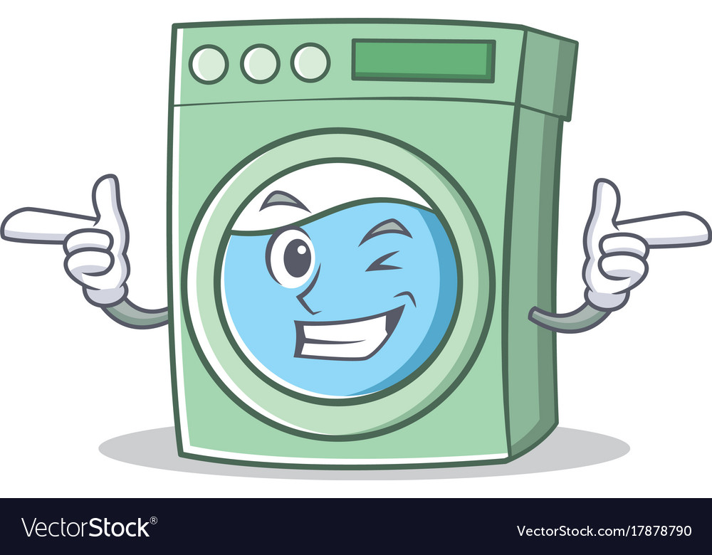 Wink washing machine character cartoon.