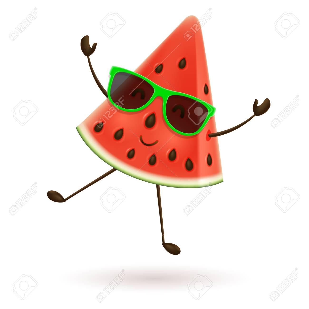 Cute watermelon character jumping. Vector illustration of cartoon...