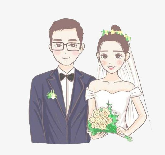 Cartoon Couple, Cartoon Clipart, Newlyweds, Marry PNG Transparent.