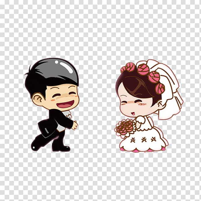 Wedding couple chibi art, Wedding invitation Bridegroom Marriage.