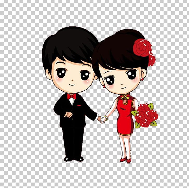 Cartoon Wedding Couple Drawing Marriage PNG, Clipart, Black Hair.