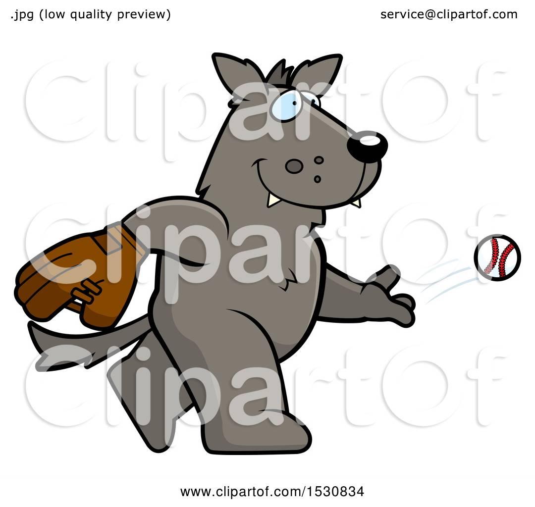 Clipart of a Cartoon Wolf Baseball Pitcher.