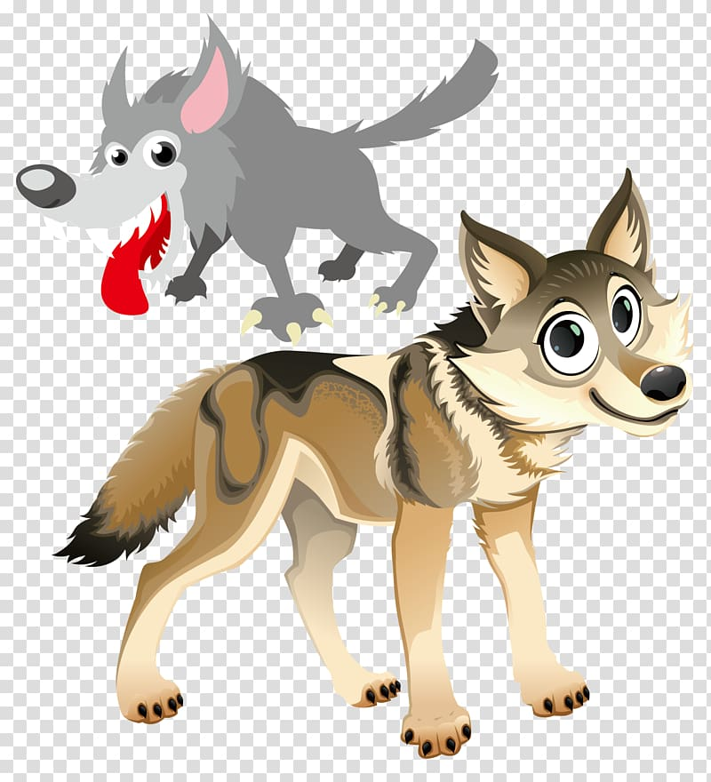 Gray wolf Animal Illustration, Cartoon Wolf transparent background.