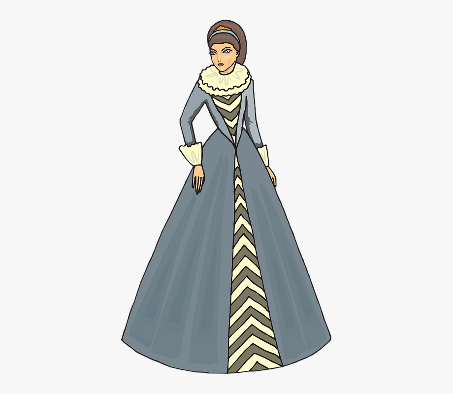 Woman 16th Century Clip Art Isolated Fashion.
