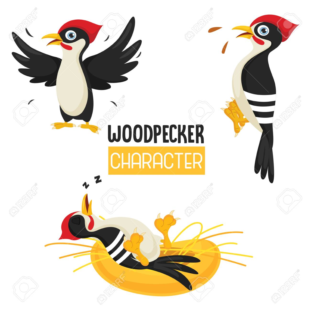 Vector Illustration Of Cartoon Woodpecker.