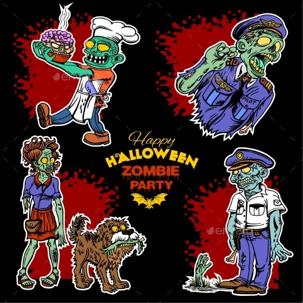 Zombie Comic Set.