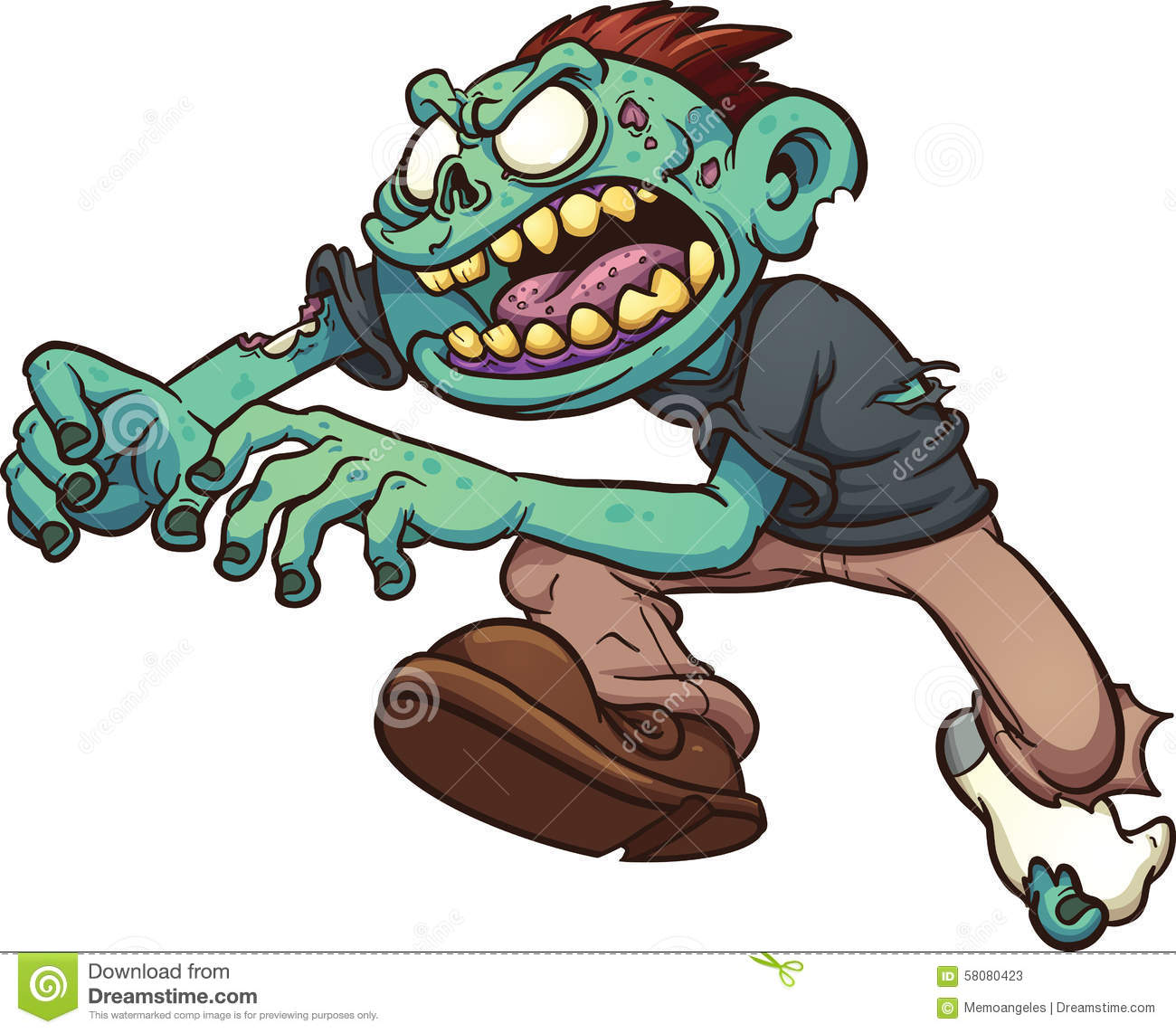 Cartoon zombie running stock vector. Illustration of angry.