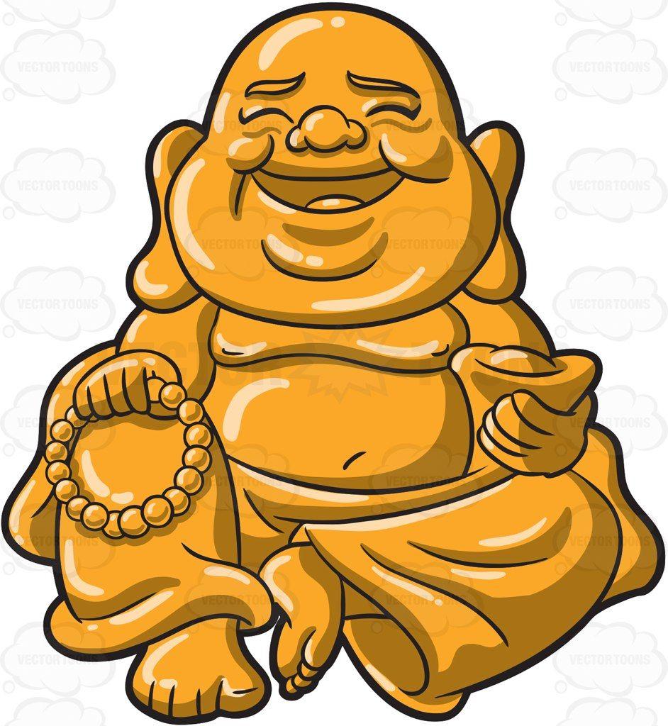 A golden Buddha with beads #cartoon #clipart #vector.