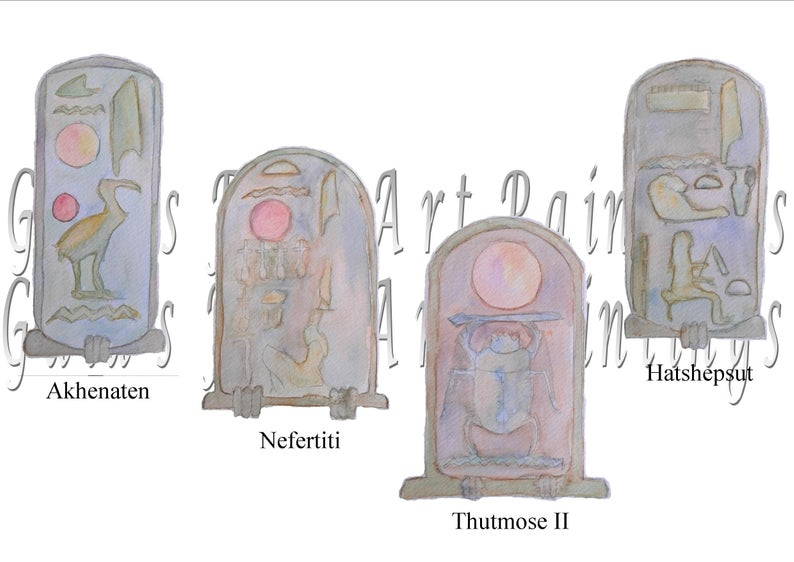 Egyptian Cartouche Clipart Pharoah Art Digital Watercolor Images  Downloadable Set of 4 PNG Files Akhentaten Nefertiti Hatshepsut Thutmose II.