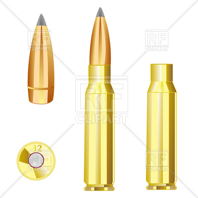 Cartridge case and bullet from weapon Vector Image #126152.
