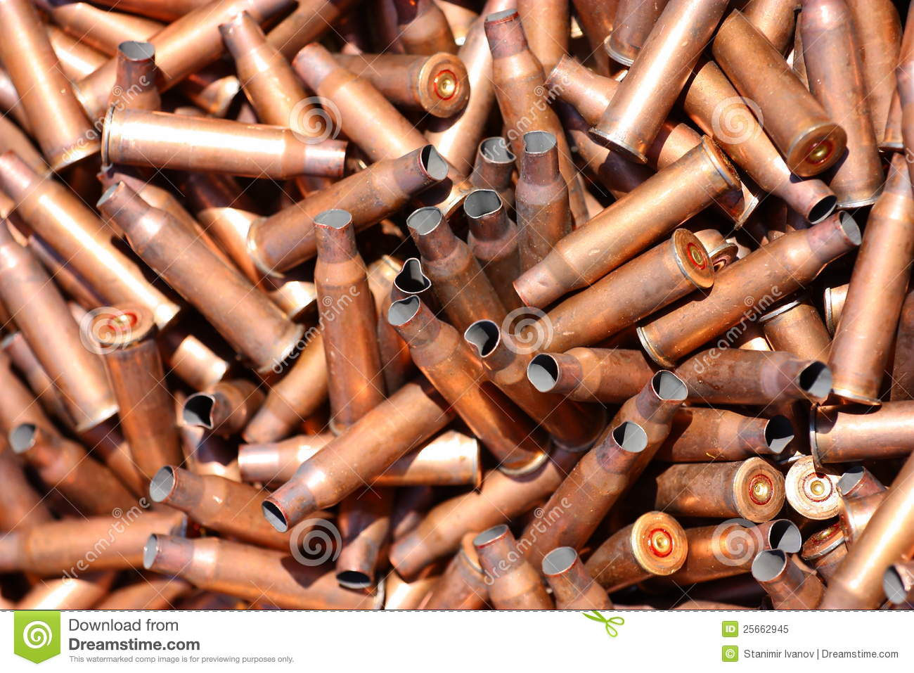 Empty Rifle Cartridge Cases (sleeves) Royalty Free Stock Photo.