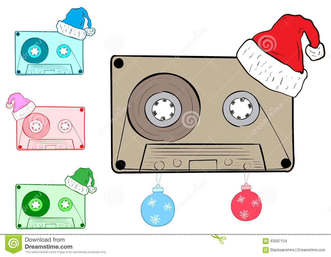 Clipart With Christmas Cartridges Stock Vector.