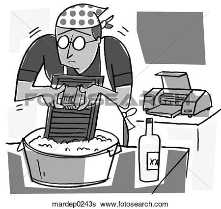 Stock Illustration of Cleaning Printer Cartridges mardep0243s.