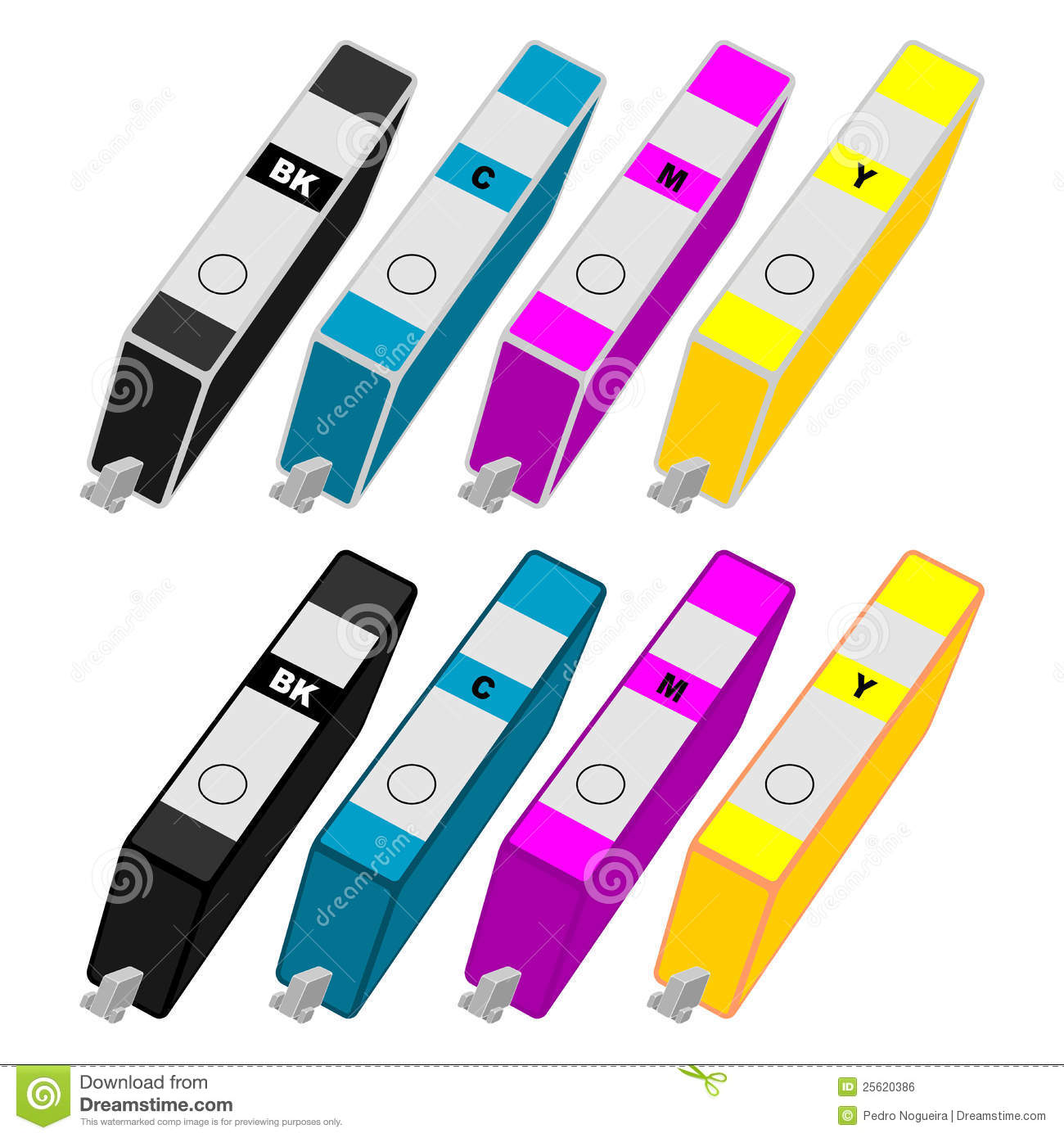 Ink Cartridges Stock Illustrations.