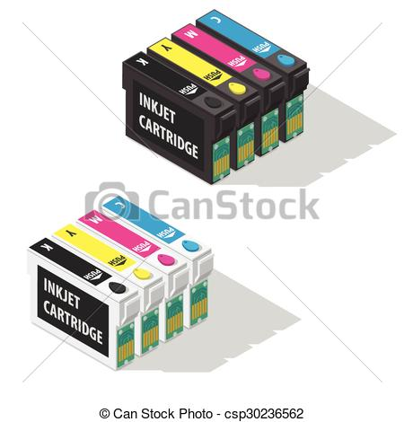 Clip Art Vector of Ink jet cartridges isometric icon vector.