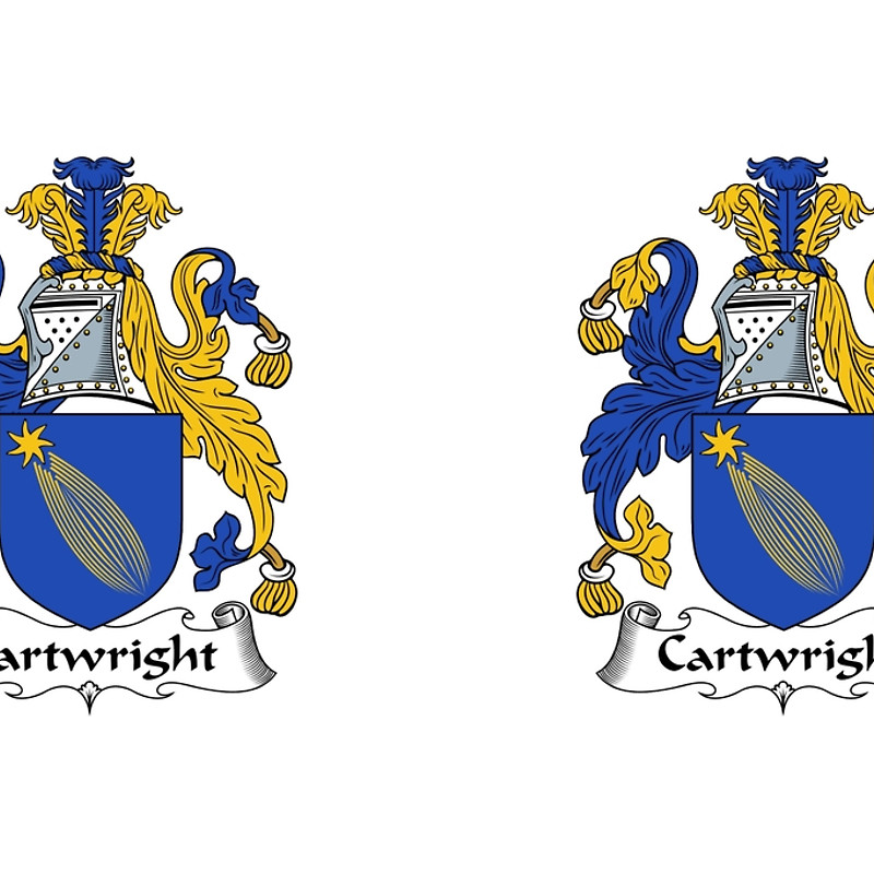 """Cartwright Coat of Arms / Cartwright Family Crest"""" Hardcover."""