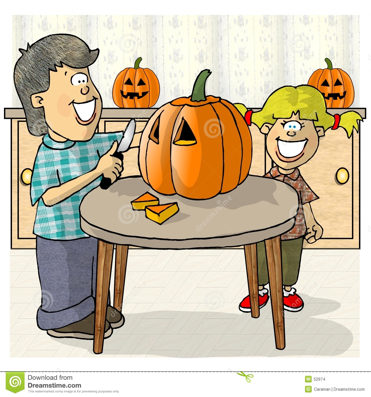 Pumpkin Carving Clipart.