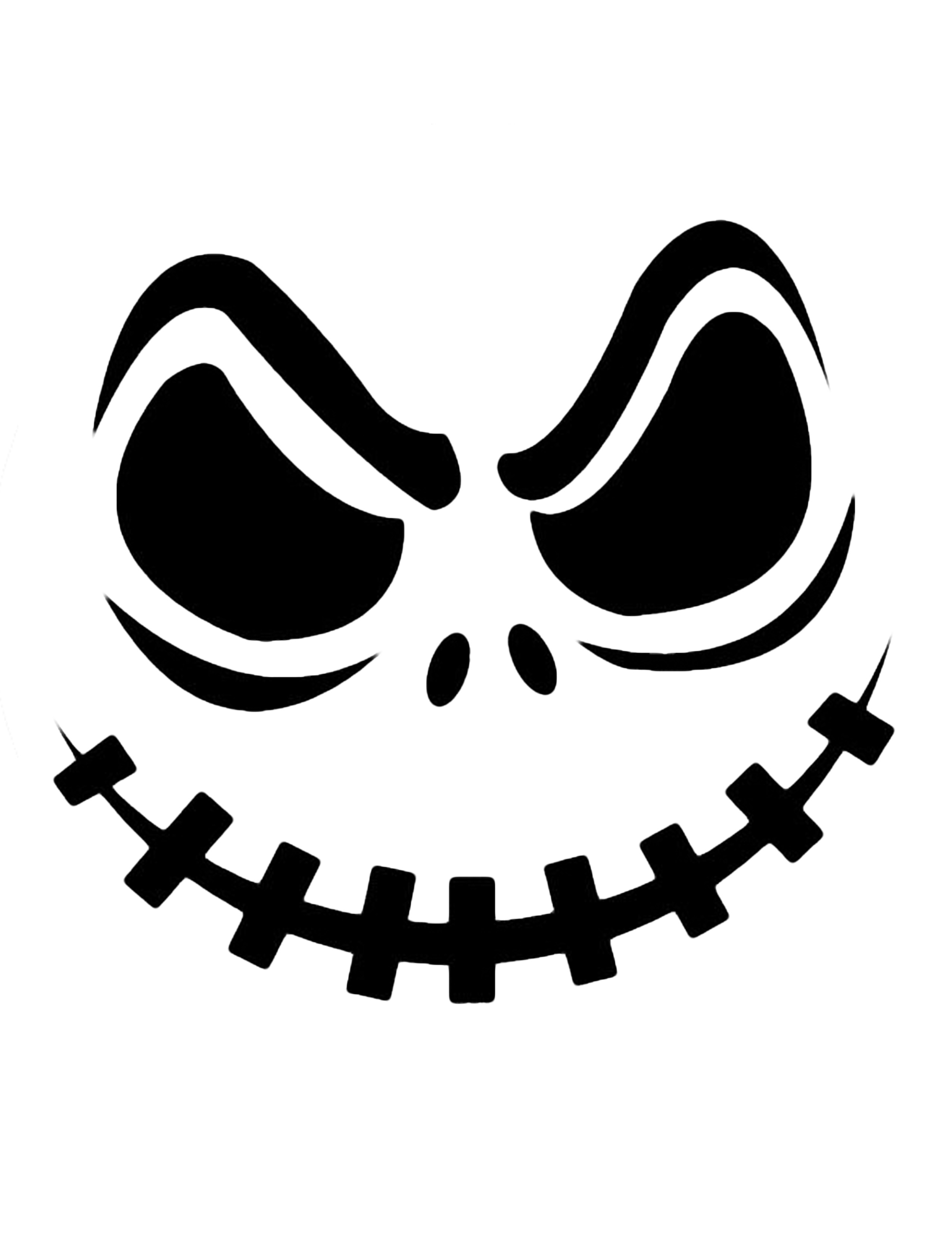 Pumpkin carving silhouette clipart witch face.