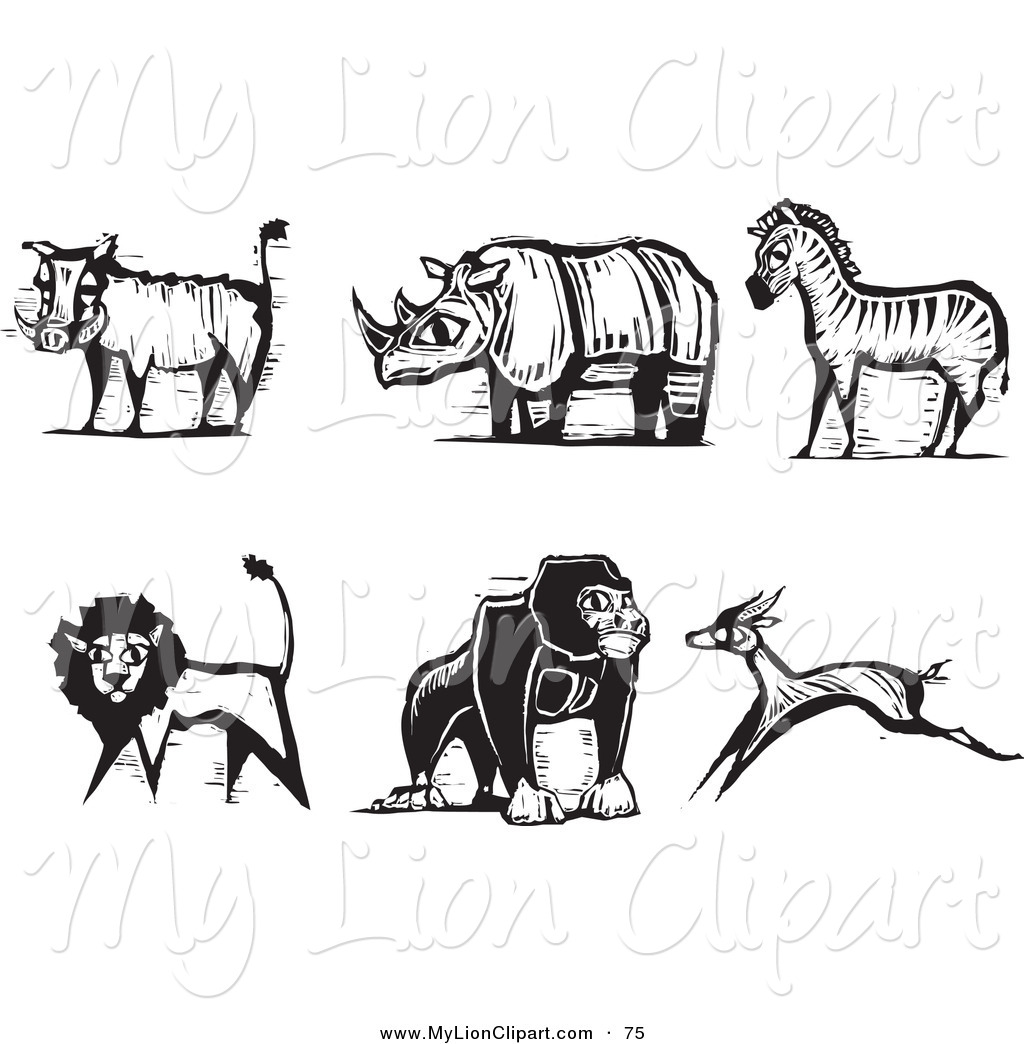 Clipart of a Digital Set of Carved Styled Black and White Safari.