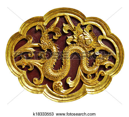 Stock Photo of Wooden carved animals, painted gold. k18333553.