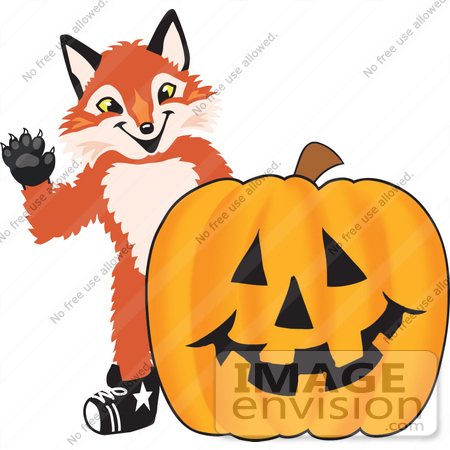 Clipart Picture of a Fox Mascot Cartoon Character With a Carved.
