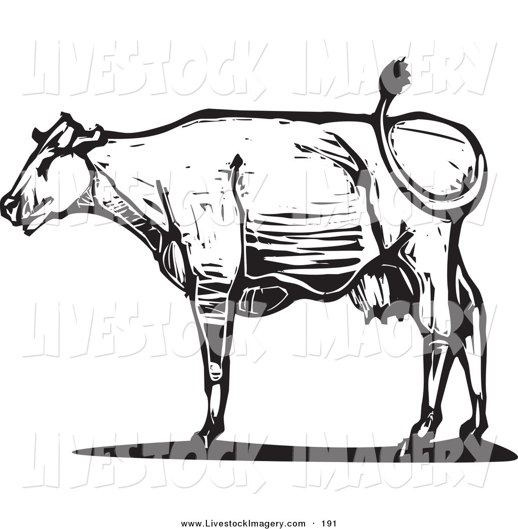 Clip Art of a Black and White Wood Textured Carved Cow in Profile.