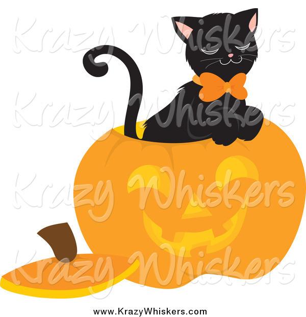 Critter Clipart of a Black Cat Inside a Carved Halloween Pumpkin.