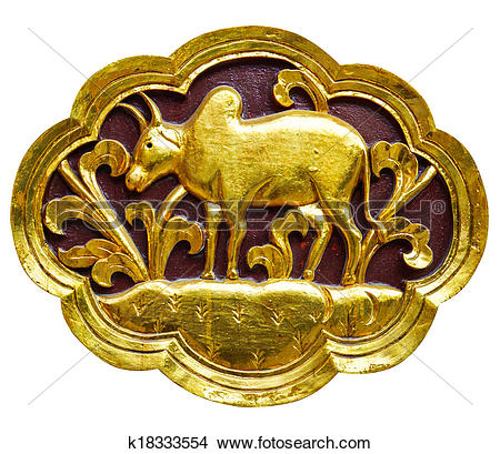 Stock Photo of Wooden carved animals, painted gold. k18333554.
