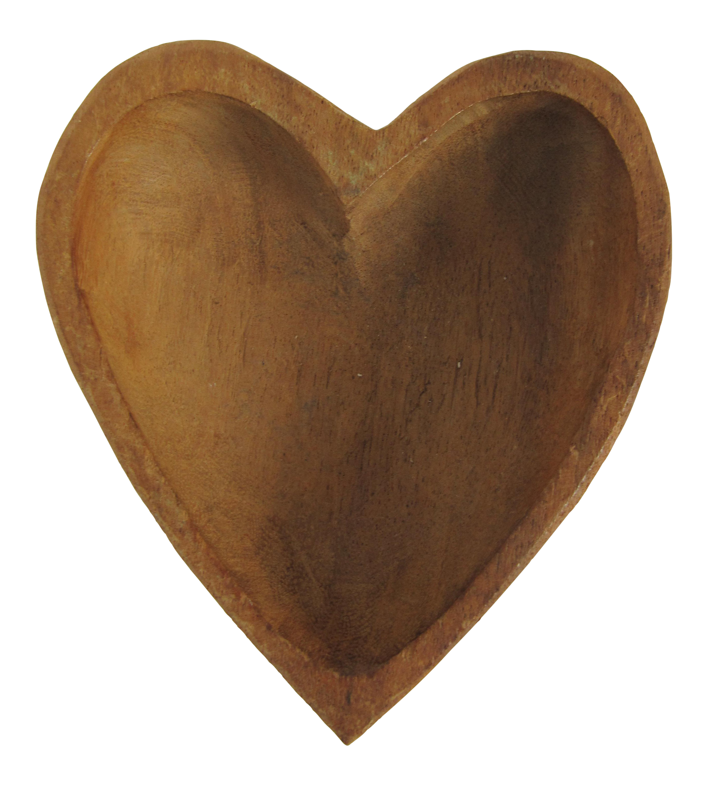 Hand Carved Heart Shaped Wood Bowl.