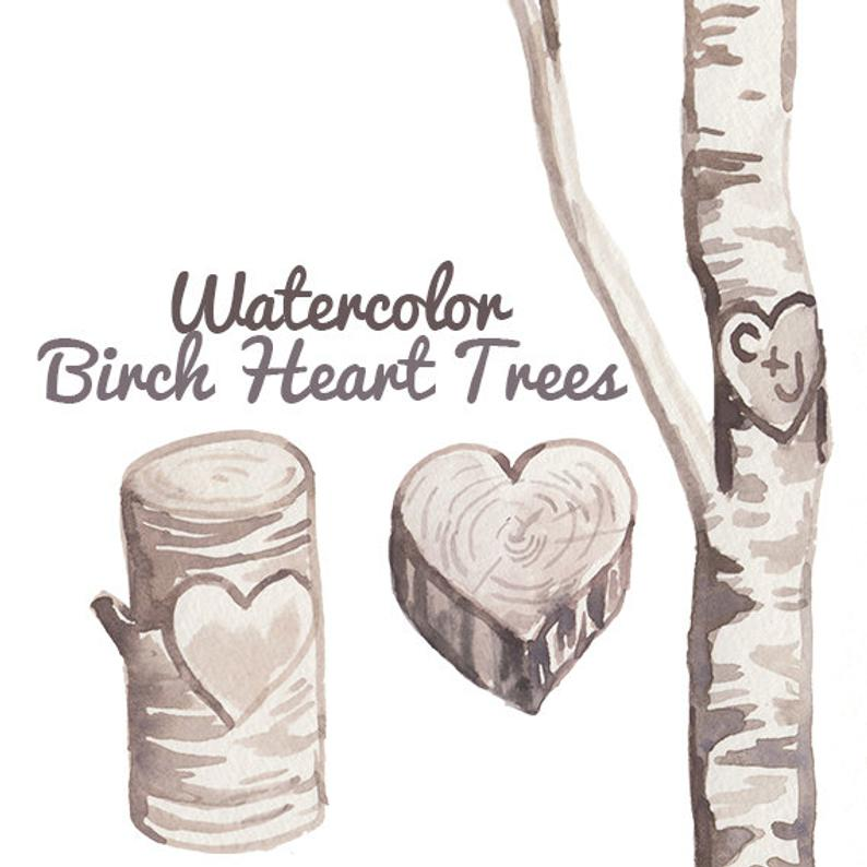 Custom Watercolor Birch Heart Trees Carving Clipart Wedding invites  romantic clip art rustic weddings.