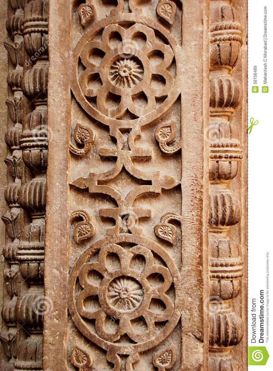 Floral Carving On Pillar Stock Photo.