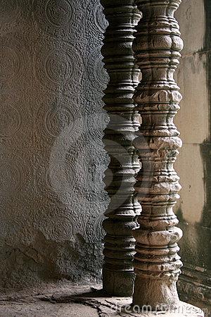 Carved Temple Pillars Stock Photos.